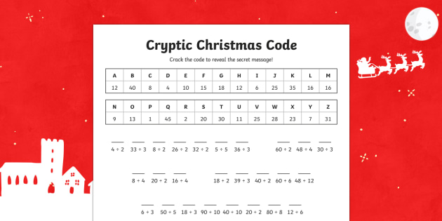 Cryptic Christmas Code Division Activity Sheet