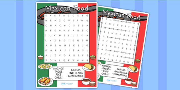 Mexican Food Wordsearch - mexico, food, mexican, wordsearch