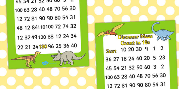 Dinosaur Counting in 10s Maze - dinosaurs, count, numbers, maze