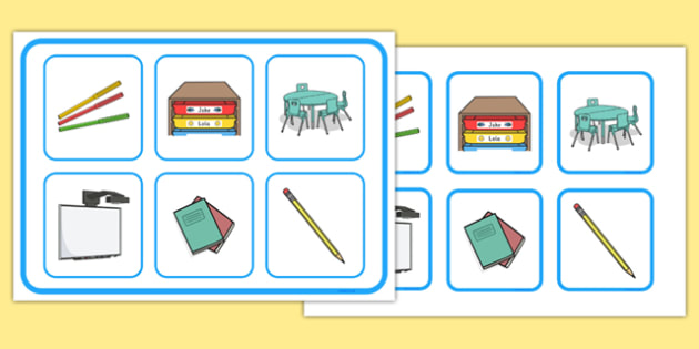Classroom Objects Matching Cards and Board - classroom objects, matching cards, board, matching