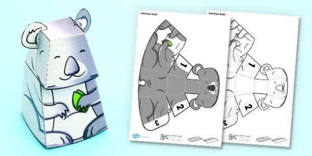 3D Koala Paper Model Activity - 3d, koala, paper, model, activity