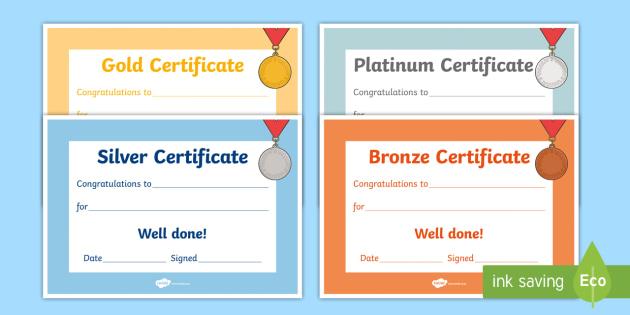 Gold Silver Bronze Certificates - gold silver bronze certificates, gold, bronze, silver, certificates, award, well done, reward, medal, rewards, school, general, certificate, achievement