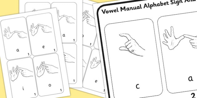 British Sign Language Left Handed Vowel Manual Alphabet Sign