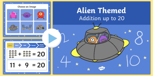 Alien Themed Addition to 20 PowerPoint - alien, addition, powerpoint, 20