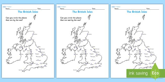 The British Isles Seaside Map Worksheet  seaside the seaside