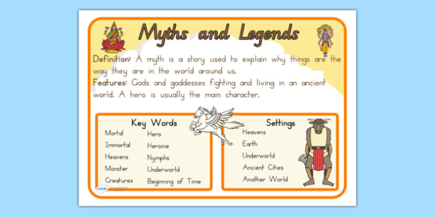 Story Genres Myths and Legends Display Poster - stories, books