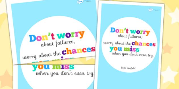 Don't Worry About Failures Motivational Poster - motivation, fail