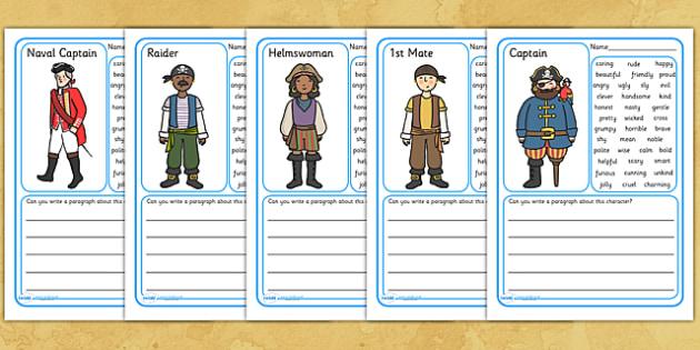 Pirate Description Writing Frames - pirates, pirate writing frames, pirate descripive writing, pirate worksheet, pirate descriptive writing worksheet