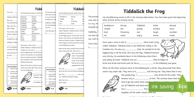 Tiddalick the Frog Differentiated Activity Sheets
