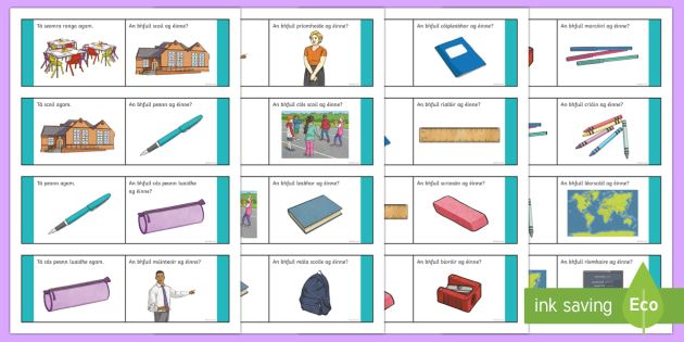 Our School Loop Cards Gaeilge - Gaeilge - An Scoil, irish, school, loop game, loop card,Irish