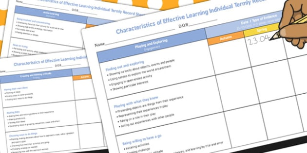 Characteristics Effective Learning Individual Termly Record Sheet