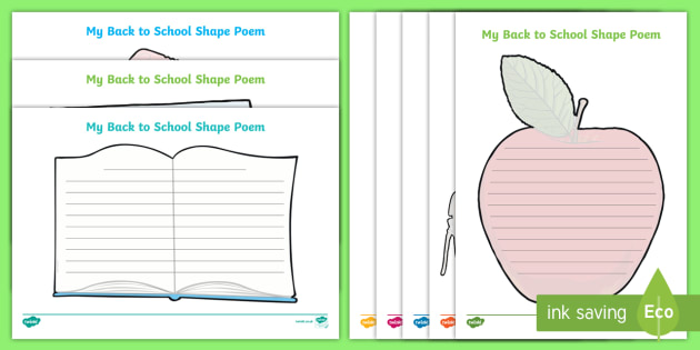 Back to School Shape Poetry - Back to School, writing frames, start of the year, transition, school equipment, school supplies,Aus