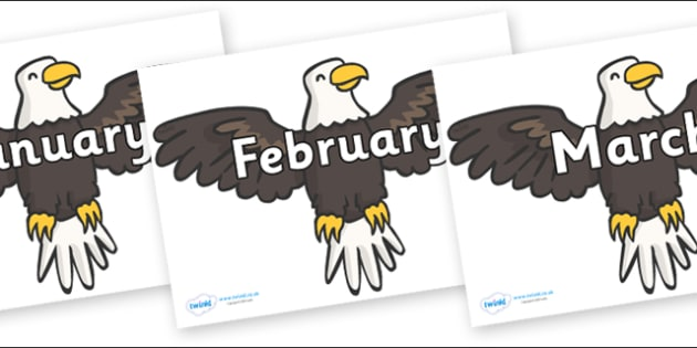 Months of the Year on Eagles - Months of the Year, Months poster, Months display, display, poster, frieze, Months, month, January, February, March, April, May, June, July, August, September