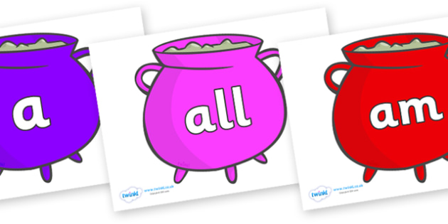 Foundation Stage 2 Keywords on Cauldrons (Multicolour) - FS2, CLL, keywords, Communication language and literacy,  Display, Key words, high frequency words, foundation stage literacy, DfES Letters and Sounds, Letters and Sounds, spelling
