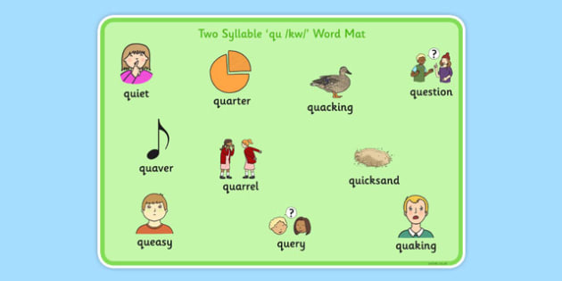 Two Syllable QU Word Mat - speech sounds, phonology, articulation, speech therapy, cluster reduction