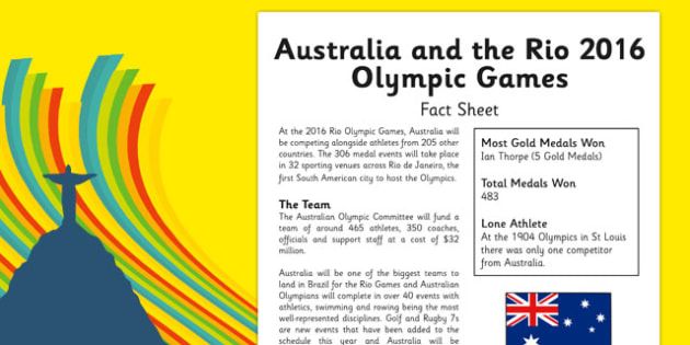 Australia and the 2016 Rio Olympic Games Fact Sheet - Australia, Olympic Games, Rio, 2016, Information, Fact Sheet, reading Comprehension