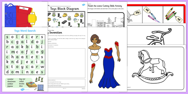 Top Ten Toys Activity Pack - Toys, teddy bears, dolls, toy labelling