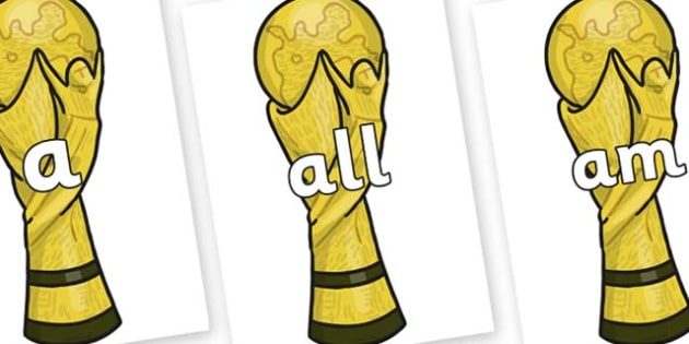 Foundation Stage 2 Keywords on World Cup Trophy - FS2, CLL, keywords, Communication language and literacy,  Display, Key words, high frequency words, foundation stage literacy, DfES Letters and Sounds, Letters and Sounds, spelling
