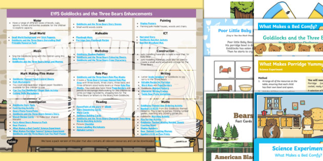 EYFS Goldilocks and the Three Bears Enhancement Ideas and Resource Pack - Early Years, continuous provision, early years planning, adult led, Goldilocks, bears, traditional tales