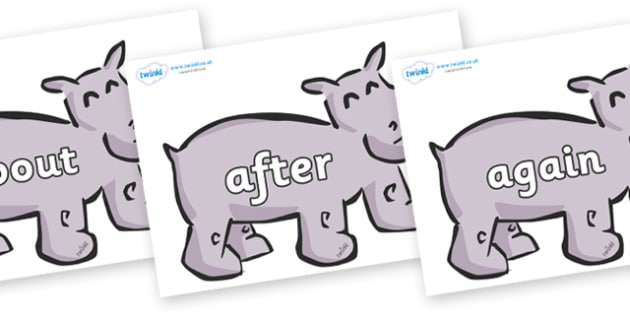 KS1 Keywords on Hippos - KS1, CLL, Communication language and literacy, Display, Key words, high frequency words, foundation stage literacy, DfES Letters and Sounds, Letters and Sounds, spelling
