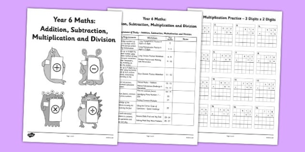 Year 6 Addition Subtraction Multiplication and Division - workbook, activity pack, worksheets, independent