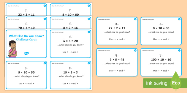 What Else Do You Know? Challenge Cards - Year 1, Maths Mastery, multiplication, multiply, times, lots of, product, divide, division, share, e