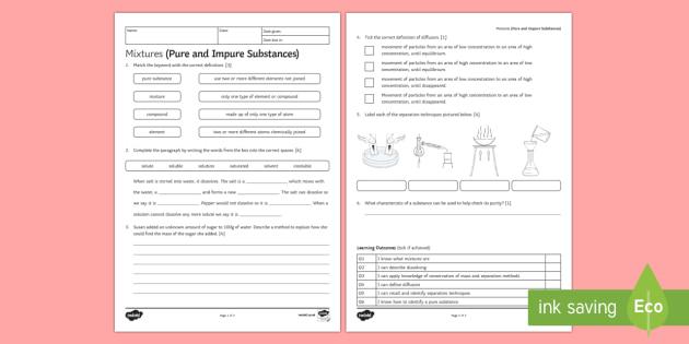 Mixtures (Pure and Impure Substances) Homework Activity Sheet - Homework, mixture, mixtures, separation, separation methods, separation techniques, worksheet, disti