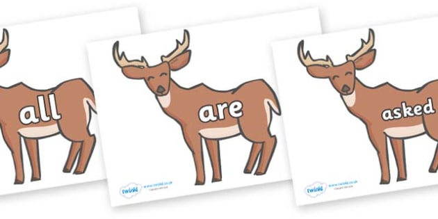 Tricky Words on Deer - Tricky words, DfES Letters and Sounds, Letters and sounds, display, words