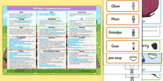 EYFS Enhancement Ideas and Resource Pack to Support Teaching on Oliver's Vegetables - Early Years, continuous provision, early years planning, adult led, Oliver's Vegetables, Vivian French, food, healthy eating, planning