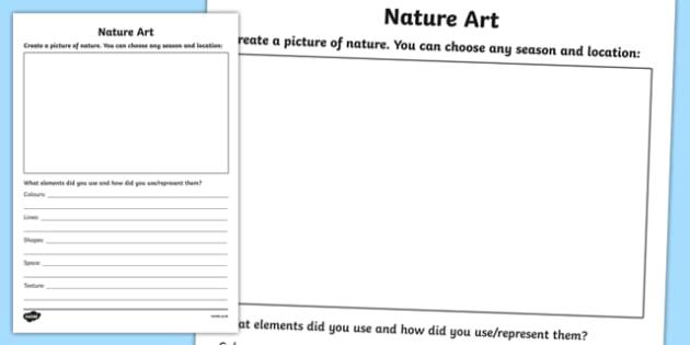 Nature Art Activity Sheet, worksheet