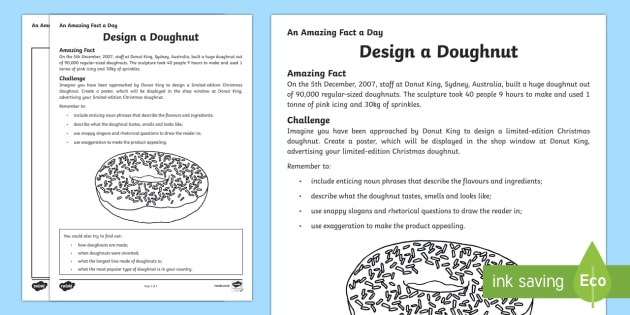 Design a Doughnut Activity Sheet - Amazing Fact Of The Day, activity sheets, powerpoint, starter, morning activity, December, donut, do