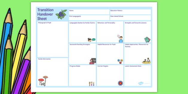 EAL Transition Handover Sheet to a New School - transition, school