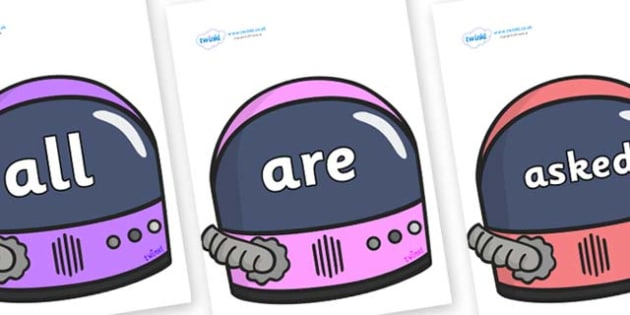 Tricky Words on Astronaut Helmet - Tricky words, DfES Letters and Sounds, Letters and sounds, display, words