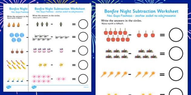 Bonfire Night Fireworks Subtraction Sheet Polish Translation - polish