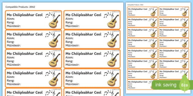 Irish Gaeilge Pupil Music Copybook Labels
