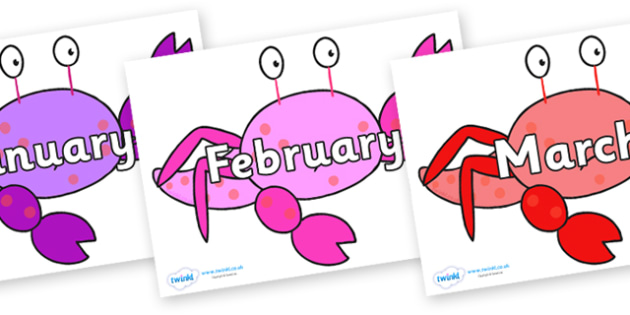 Months of the Year on Crab to Support Teaching on Sharing a Shell - Months of the Year, Months poster, Months display, display, poster, frieze, Months, month, January, February, March, April, May, June, July, August, September