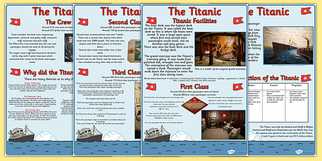 Titanic Information Sheets - titanic, history, information sheets