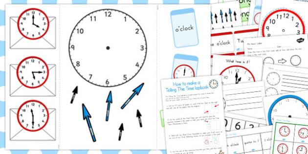 Telling the Time Lapbook Creation Pack - australia, lapbook, pack