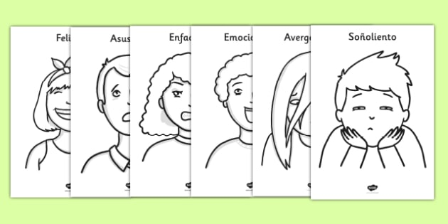 Ourselves Emotions A4 Colouring Posters Spanish - spanish, Colouring, fine motor skills, Emotions, Feelings, All about me, ourselves, feelings display, feelings banner, emotions display, expression, happy, sad, angry, scared