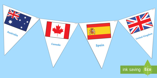 Flags of the World Bunting - Flags of the world, flags, world, country, countries, bunting, buntings, all around the world, worldwide, flag, around the world, globe