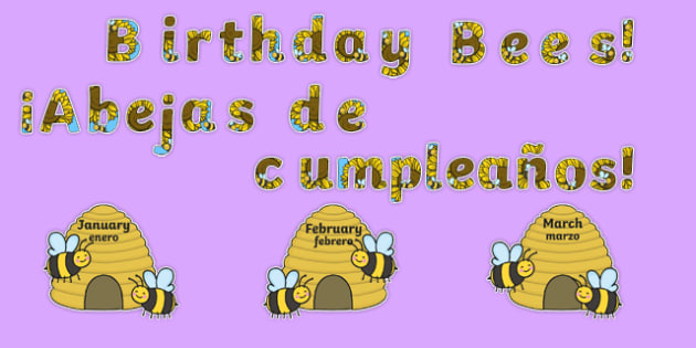 Birthday Bees Display Pack Spanish Translation--translation