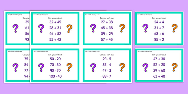 Year 2 Addition and Subtraction Challenge Cards - year 2, addition, subtraction, challenge cards, challenge, cards