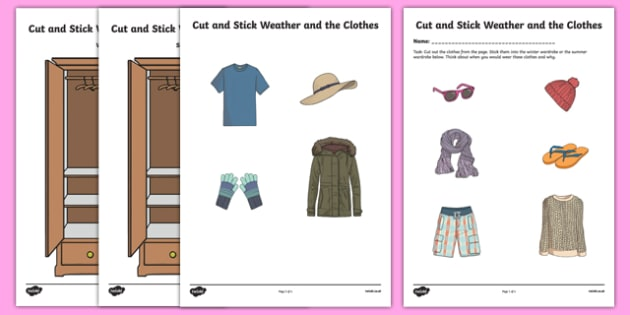 Cut and Stick Weather and Clothes Activity Sheet-Irish, worksheet