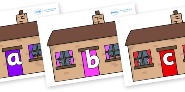 Phase 2 Phonemes on Houses - Phonemes, phoneme, Phase 2, Phase two, Foundation, Literacy, Letters and Sounds, DfES, display