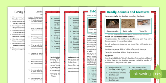 Deadly Animals and Creatures Differentiated Reading Comprehension English/Polish