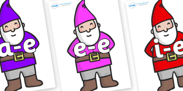 Modifying E Letters on Gnomes - Modifying E, letters, modify, Phase 5, Phase five, alternative spellings for phonemes, DfES letters and Sounds