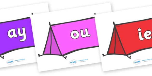 Phase 5 Phonemes on Tents - Phonemes, phoneme, Phase 5, Phase five, Foundation, Literacy, Letters and Sounds, DfES, display