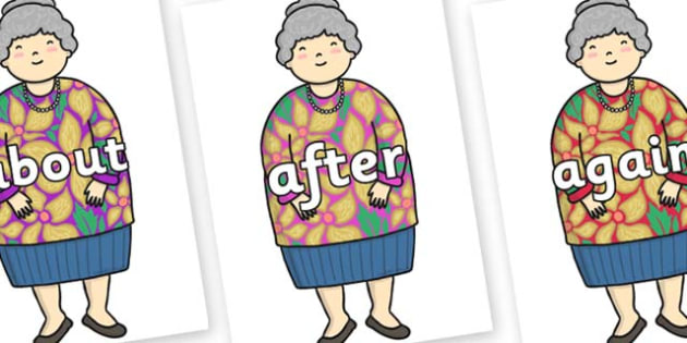 KS1 Keywords on Little Old Lady - KS1, CLL, Communication language and literacy, Display, Key words, high frequency words, foundation stage literacy, DfES Letters and Sounds, Letters and Sounds, spelling