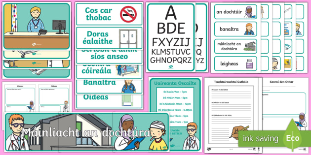 Aistear Pack The Doctor's Surgery Gaeilge Display Pack - Aistear, Infants, English Oral Language, School, The Garda Station, The Hairdressers, The Airport, T