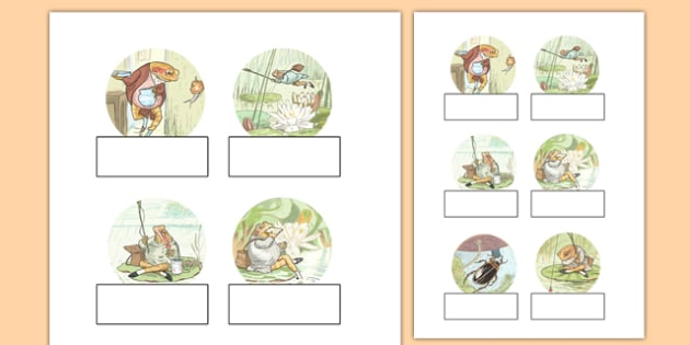 The Tale of Mr Jeremy Fisher Editable Self-Registration - Beatrix Potter, frog, register